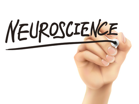 clinical research: neuroscience word written by 3d hand over white background