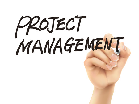project management words written by 3d hand over white background Vector