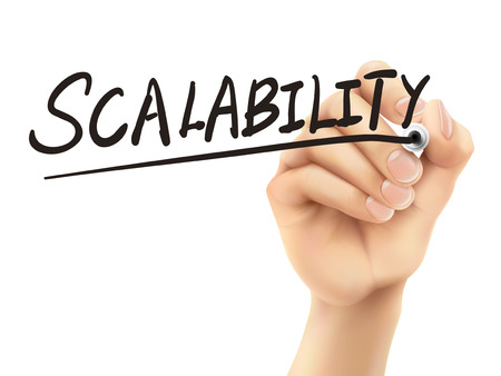 scalability: scalability word written by 3d hand over white background