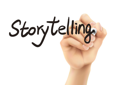 tell stories: storytelling word written by 3d hand over white background Illustration