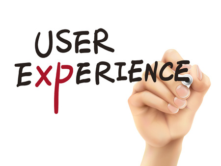user experience words written by 3d hand over white background Vector