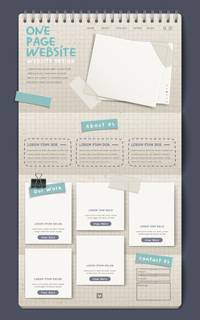 1: 3d notebook style one page website design template Illustration