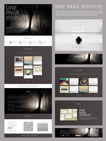 moderne stijl een pagina website ontwerp sjabloon in donkere kleur