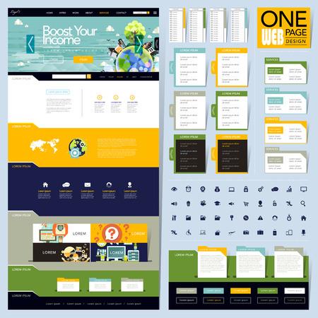 創造的なフォルダー スタイル 1 ページのウェブサイトのデザイン テンプレート  イラスト・ベクター素材