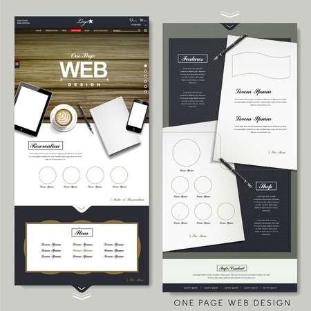 one to one: office scene one page website design template with stationery elements