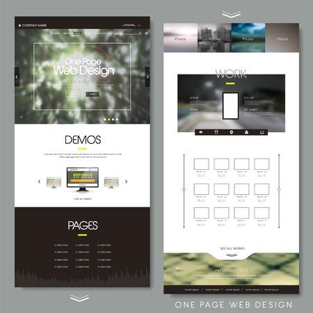 1 つのページのウェブサイトのデザイン テンプレートの背景をぼかし