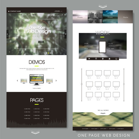 web marketing: one page website design template with blur background Illustration