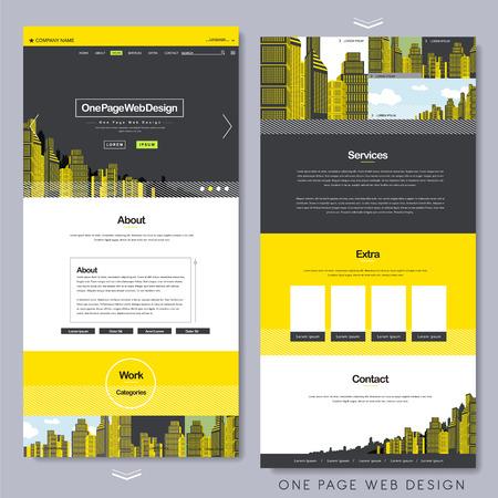 één pagina website ontwerp sjabloon met gele stad scène achtergrond