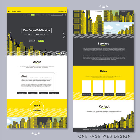 one page website design template with yellow city scene background