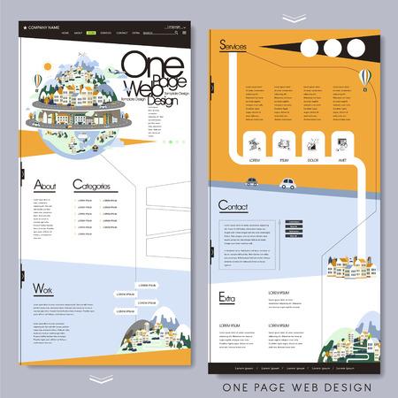 フラットなデザインでスタイル 1 ページのウェブサイト テンプレートを旅行します。  イラスト・ベクター素材