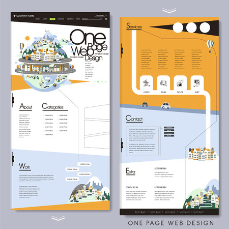 one on one: travel style one page website template in flat design