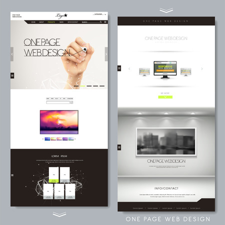 現代創造的な 1 つのページのウェブサイトのデザイン テンプレート