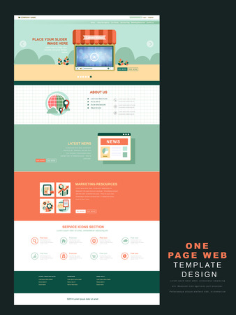 market place: one page website template in flat design