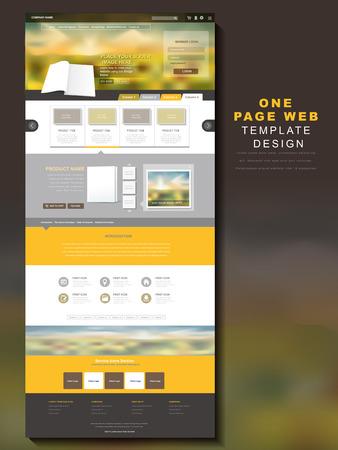 één pagina website ontwerp sjabloon met wazige achtergrond