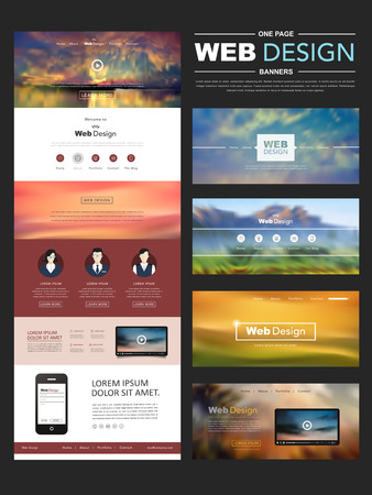 één pagina website ontwerp sjabloon met onscherpte landschap achtergrond