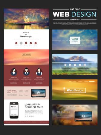ぼかしの風景の背景を持つ 1 つのページのウェブサイト デザイン テンプレート