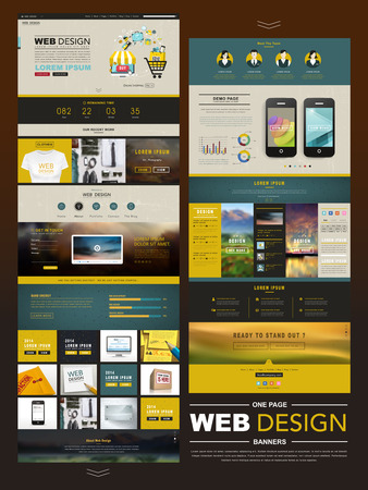 web development: business style one page website design template