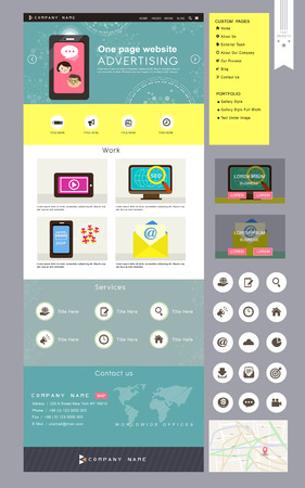 yellow design element: lovely business one page website design template