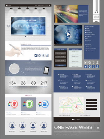element template: modern one page website design template in blue