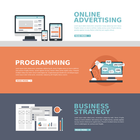 business advertising banner in flat design style 일러스트