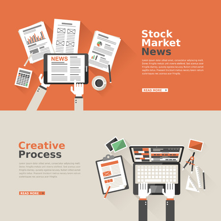 Flache Bauweise für Börsennachrichten und kreativen Prozess Standard-Bild - 33353834