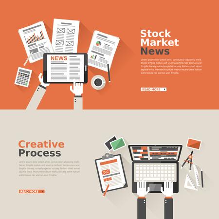 platte ontwerp voor nieuws aandelenmarkt en creatieve proces Stock Illustratie