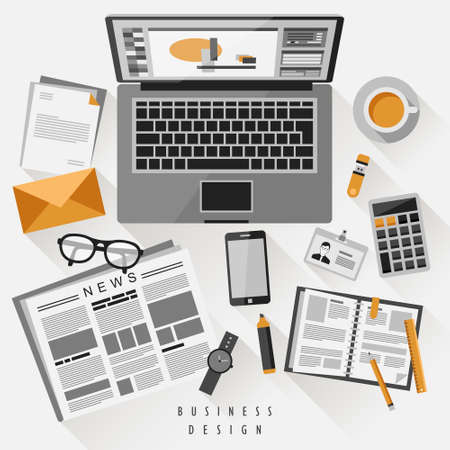 top view of work place concept in flat design Vector