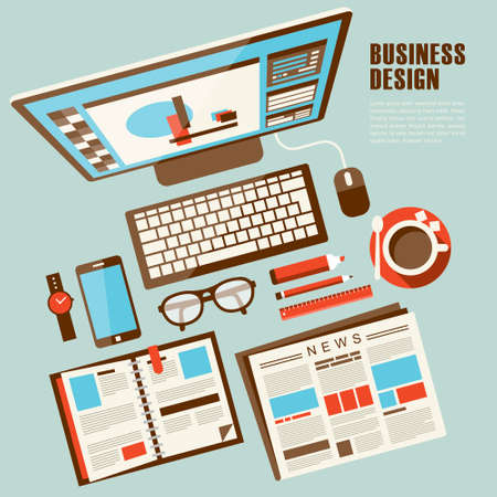 work place: top view of work place concept in flat design Illustration