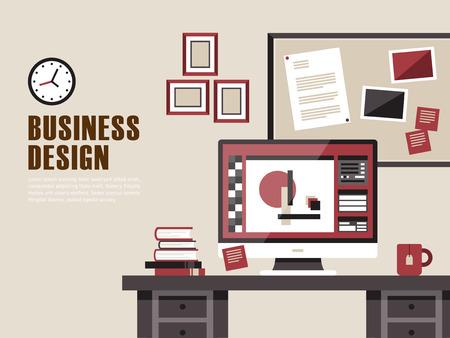 modern interior design: interior of working place concept in flat design