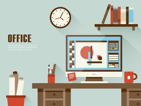 escritorio: interior del lugar de trabajo concepto en diseño plano Vectores