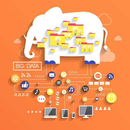 big data concept in flat design with elephant image 일러스트