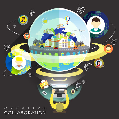 conference table: creative collaboration through internet concept in flat design Illustration