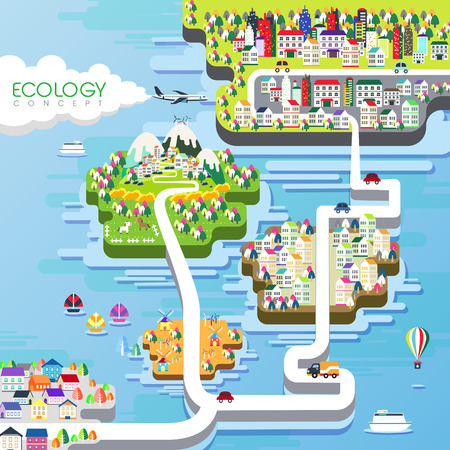 ecology concept flat design in bright colors Illustration