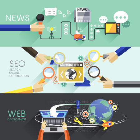 flat design of news, SEO and web concepts