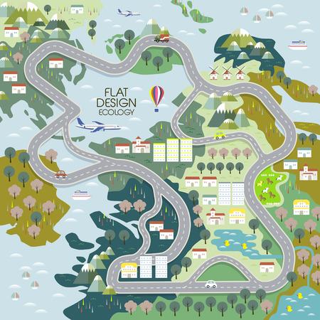 bovenaanzicht van ecologisch concept in vlakke uitvoering Stock Illustratie