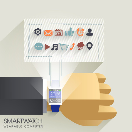 businessmans hand with smart watch and technical icons Vector
