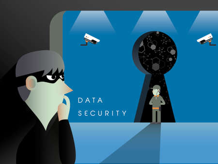 e money: data security concept in flat design with theft and security guards Illustration