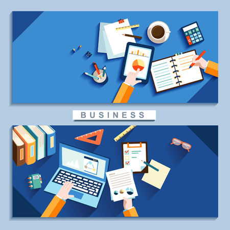 business work place concept in flat design Illustration