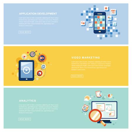 application marketing business concept in flat design Illustration