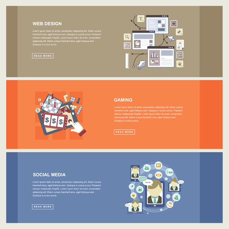business concept in flat design with web design, gaming and social media elements
