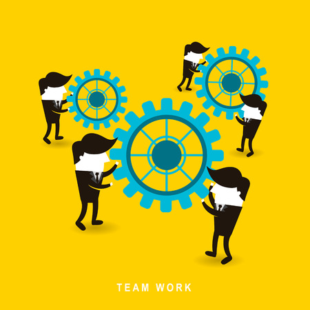 flat design of businessmen team work over yellow background Vettoriali