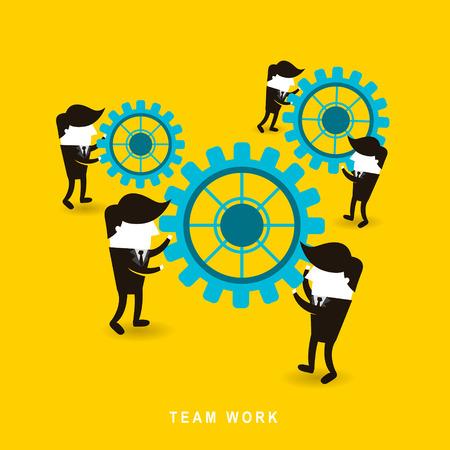 team problems: flat design of businessmen team work over yellow background Illustration