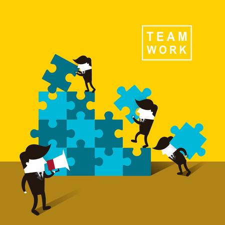 黄色の背景上のビジネスマンのチームの仕事のフラットなデザイン