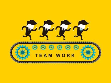 collaboration team: flat design of businessmen team work over yellow background Illustration