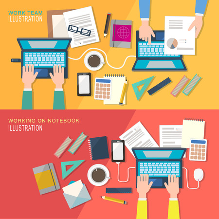 office background: flat style business concept of working place
