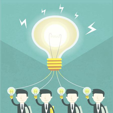 전구 및 기업인 요소와 팀 작업 개념