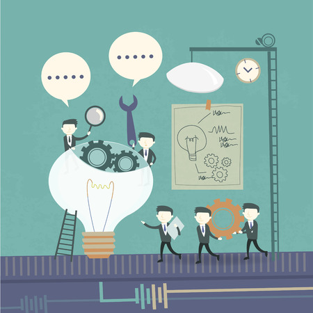 team work concept with cogwheel and businessmen elements
