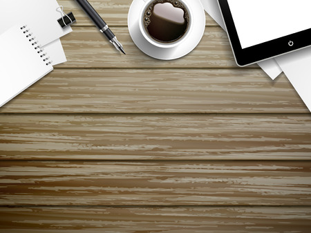 desk work: top view of working place elements on wooden background Illustration