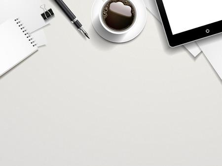 masalar: beyaz masanın üzerine iş yeri elemanlarının üst görünümü Çizim