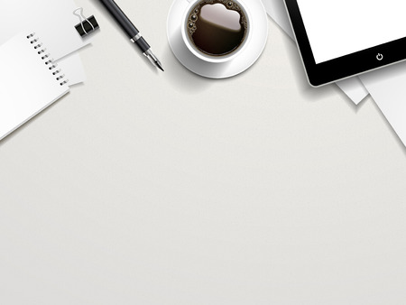 psací stůl: pohled shora na pracovní místa prvků na bílém stole